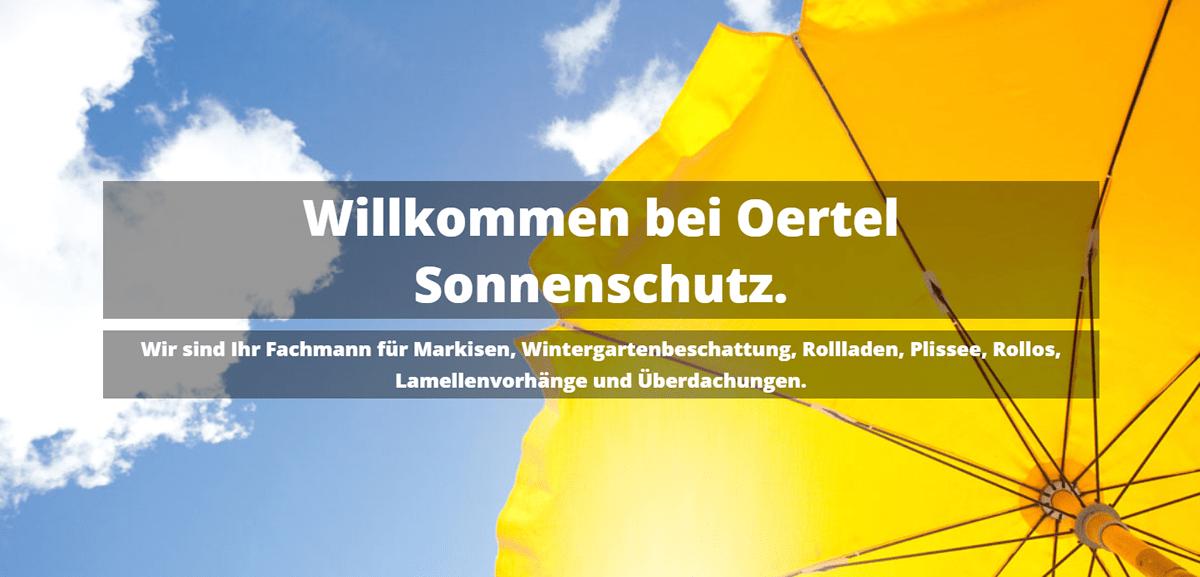 Markisen Ellhofen - Oertel Sonnenschutz: Rolläden, Plissee, Überdachungen, Wintergartenbeschattung, Lamellenvorhänge